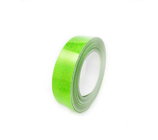 "1"" x 60' Fluorescent Yellow Hologlitter Tape - Hula Hoop Tape"